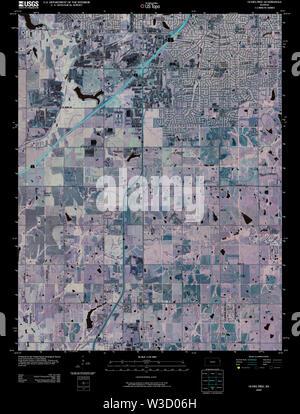 USGS TOPO Map Kansas KS Ocheltree 20091217 TM Inverted Restoration - Stock Image