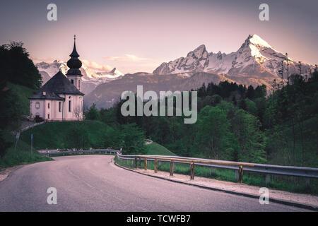 Scenic view on Maria Gern Church with Watzmann view Berchtesgaden Bavaria Alps Germany - Stock Image