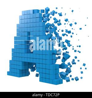 letter A shaped data block. version with blue cubes. 3d pixel style vector illustration. suitable for blockchain, technology, computer and abstract th - Stock Image