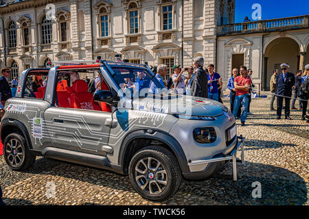 Piedmont Turin - Turin auto show 2019  - Valentino park - Valentino castle -Smart Road' project car with autonomous driving on the road - Stock Image