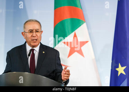 Berlin, Germany. 20th Mar, 2019. Ramtane Lamamra, Deputy Prime Minister and Foreign Minister of Algeria, gestures during a joint press conference with his German counterpart. Credit: Carsten Koall/dpa/Alamy Live News - Stock Image