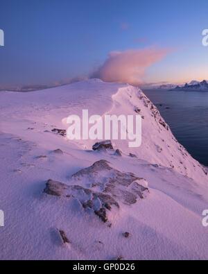 Winter mountain landscape on Røren, Moskenesøy, Lofoten Islands, Norway - Stock Image