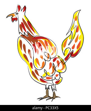 poultry rooster  simple line drawing illustration of rooster. - Stock Image