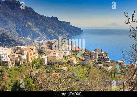Hamlet of Torello, near Ravello, view down Amalfi Coast to Maiori in spring, UNESCO World Heritage Site, Campania, Italy, Europe - Stock Image