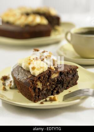 Chocolate banana walnut cake - Stock Image