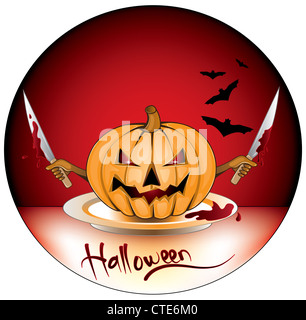halloween pumpkin,with hands and knives - Stock Image