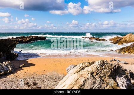 Crashing waves and surf at Fistral Beach, Newquay, Cornwall, UK - Stock Image