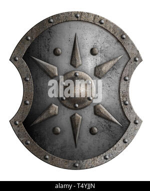 Large shield with star isolated on white - Stock Image