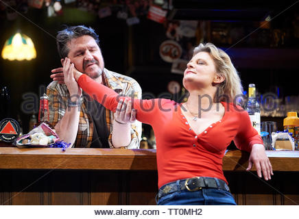 Sweat by Lynn Nottage, A Donmar Warehouse Production directed by Lynette Linton.With Stuart McQuarrie as Stan,Martha Plimpton as Tracey. Opens at The Gieilgud Theatre on 12/6/19 pic Geraint Lewis EDITORIAL USE ONLY - Stock Image