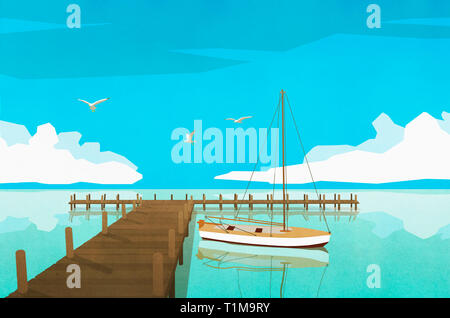 Sailboat moored at tranquil ocean dock - Stock Image