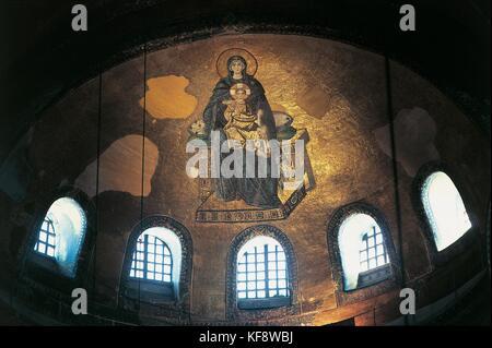 TURKEY ISTANBUL SANTA SOFIA semidome APSE MOSAIC Virgin and Child - Stock Image