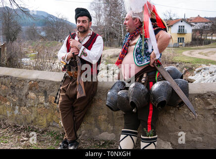 Turia, Bulgaria 9 March 2019 For centuries, spring has been performing a removed evil. People in the village wear big bells and terrible costumes. The - Stock Image