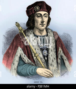 Henry VII of England - portrait. King of England and Lord of Ireland from his seizing the crown on 22 August 1485 until his death on 21 April 1509. First monarch of the House of Tudor. Cassell's History of England, Vol. II. P. 80 - Stock Image