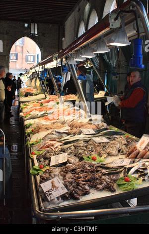 Rialto fish market, Venice, Italy - Stock Image