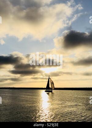 A sailboat sailing at sunset. Marina Del Rey, California USA. - Stock Image