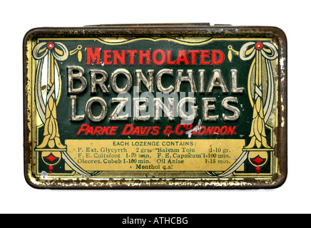Old Vintage Tin Box for Parke Davis Medicine Mentholated Bronchial Lozenges FOR EDITORIAL USE ONLY - Stock Image