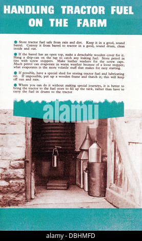 Handling Tractor Fuel on the Farm, an information sheet published by the Ministry of Agriculture and Fisheries 1952 - Stock Image