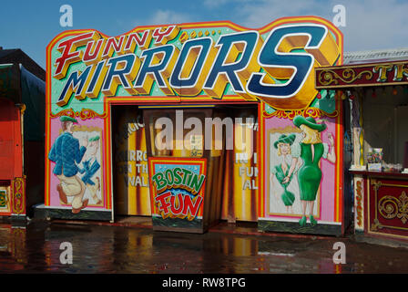 Funny Mirrors, an old fashioned fairground attraction, Black Country Living Museum, Dudley, UK - Stock Image