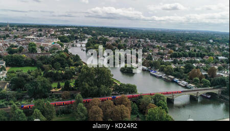 Aerial view over residential Victorian villages by the river Thames in West London - Stock Image