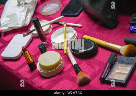 Set of cosmetics for daily makeup on the table - Stock Image