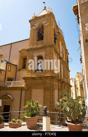 Italy Sicily Agrigento Chiesa di S Francesco Church of St Francis bells tower weather vane Madonna & Child statue sculpture balcony cactus cacti - Stock Image