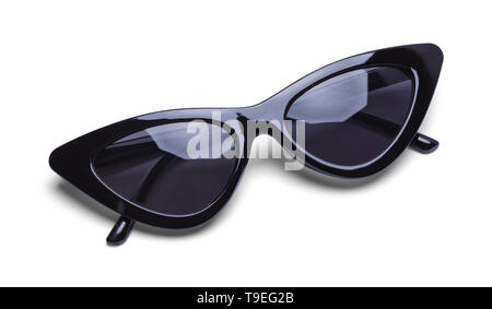 Folded Black Retro Sunglasses Isolated on White Background. - Stock Image