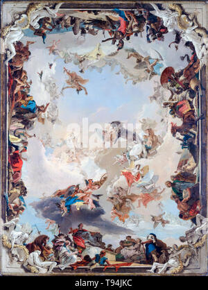 Allegory of the Planets and Continents, painting by Giovanni Battista Tiepolo, 1752 - Stock Image