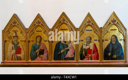 Madonna and Child with St.Nicholas, St John the Evangelist. St. Peter and St. Benedict the Redeemer and Four Angels, Giotto di Bondone, circa 1295-130 - Stock Image