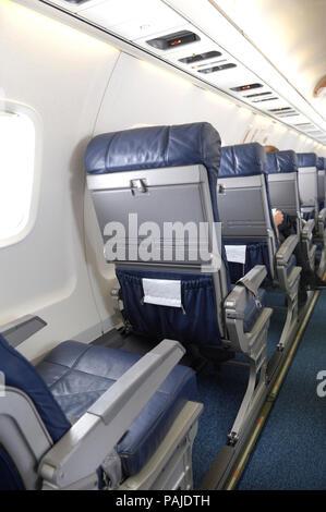 eceonomy-class cabin seats on Embraer ERJ-135LR on flight Comandatuba-GRU - Stock Image