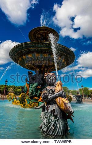 Maritime Fountain (Fontaines de la Concorde), Place de la Concorde, Paris, France. - Stock Image