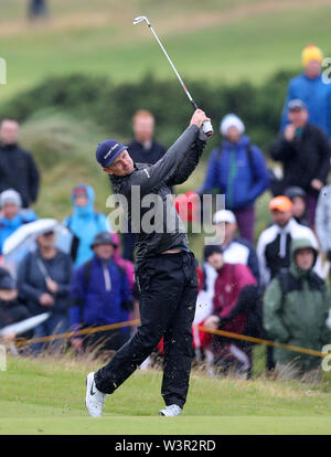 Portrush, County Antrim, Northern Ireland. 17th July 2019. The 148th Open Golf Championship, Royal Portrush Golf Club, Practice day ; Justin Rose (ENG) follows his iron shot to the green on the par four 14th hole Credit: Action Plus Sports Images/Alamy Live News - Stock Image