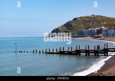 Aberystwyth beach and seafront, Cardigan Bay, Wales, UK - Stock Image
