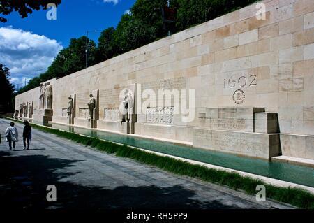 Reformation Wall by architect Alphonse Laverrière in Geneva Switzerland - Stock Image