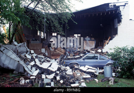 A building was destroyed by a small tornado in Cheverly, Marylamd - Stock Image