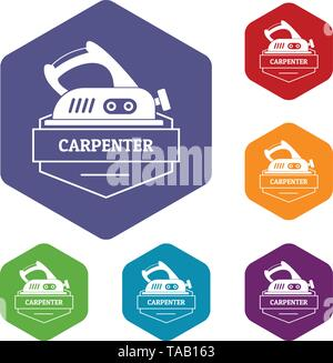Carpenter icons vector hexahedron - Stock Image