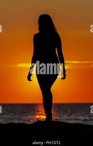 A woman is silhouetted at sunset on the jetty at Menemsha Beach in Chilmark, Massachusetts on Martha's Vineyard. - Stock Image
