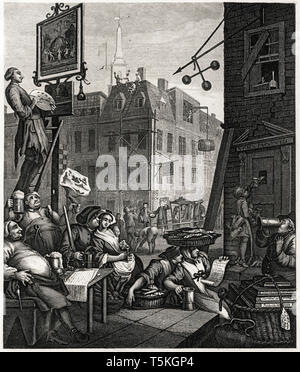 William Hogarth, Beer Street, engraving, 1751 - Stock Image