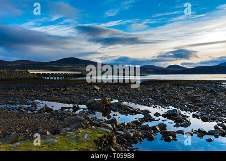 The Kyle of Tongue bridge with the hill of Meall nan Clach Ruadha behind, Tongue, Sutherland, Scotland, UK - Stock Image