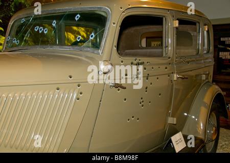 Buckhorn Saloon San Antonio Texas tx bullet holes Bonnie and Clyde car replica exhibit - Stock Image