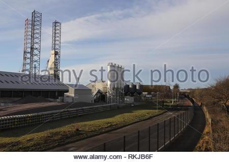 Docks way cycle path beside Port of Dundee Scotland  January 2019 - Stock Image