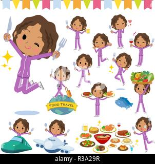 A set of women in sportswear on food events.There are actions that have a fork and a spoon and are having fun.It's vector art so it's easy to edit. - Stock Image