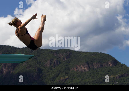Bolzano, Italy. 07th, Jul 2018. Blagg Alice from Great Britain competes in the Women's 3m Springboard Diving Semi-Final on day two at Bolzano Lido, during 24th FINA Diving Grand Prix in Bolzano, Italy, 07 July 2018. (PHOTO) Alejandro Sala/Alamy Live News - Stock Image
