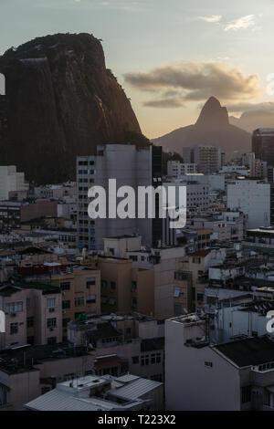 Two Brothers mountain view from Copacabana, Rio de Janeiro, Brazil. - Stock Image