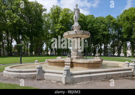 Fontaine de Poppa de Bayeux in Place Charles de Gaulle, Bayeux, Normandy, France on a sunny spring day - Stock Image