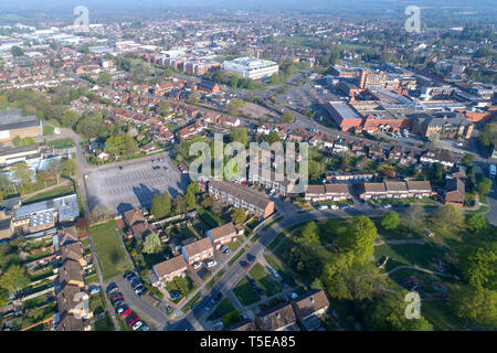 aerial views of burgess hill looking towards the town centre west sussex taken by drone - Stock Image