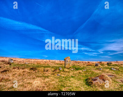 Barbrook, Derbyshire, UK. 30th March, 2019. UK Weather: Bright blue sky on a warm sunny day at Barbrook 1, one of the best preserved stone circle in the Peak District. HDR landscape photography. - Stock Image