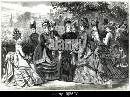 Parisian women wearing the latest fashionable dresses for the races. - Stock Image