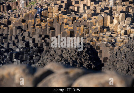 Tourist on the Giant's Causeway in County Antrim, Northern Ireland - Stock Image