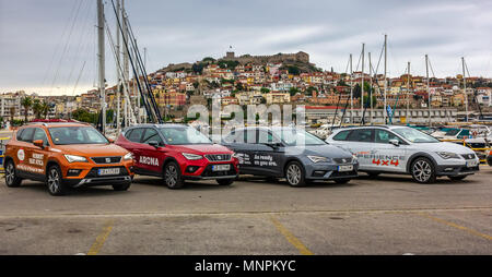 Seat new models cars situated on the coast of Kavala, Greece. Leon Xperience 1.8TSI 4Drive, Arona 1.0TSI Xcellence, Leon ST 2.0 TDI XCELLENCE 150 HP - Stock Image