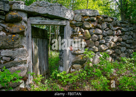 Ruins of old building in Finnish countryside - Stock Image